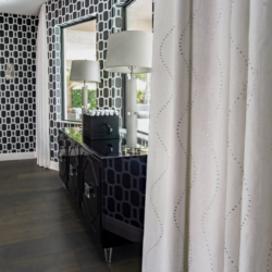 close up drapes and wall unit dining room