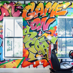 commercial kids and teens space arcade with graffiti on walls