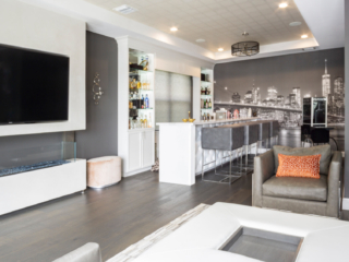 custom cabinetry living and bar