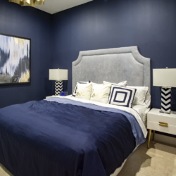 guest bedroom navy and gold