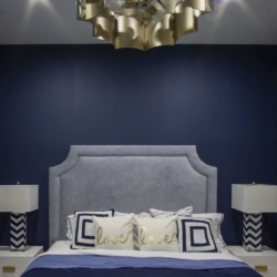navy and gold bedroom