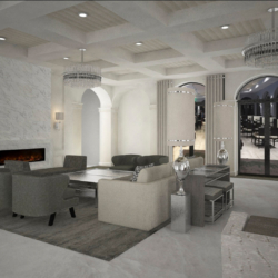 render of entry seating area commercial clubhouse