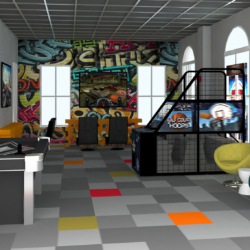 render of teen gaming room oaks clubhouse